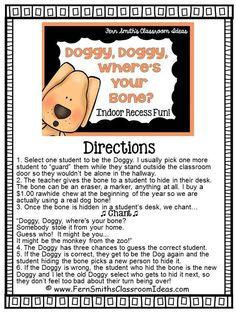 Indoor Recess ~ Doggie, Doggie, Where's Your Bone Printable Directions #FREE #BacktoSchool