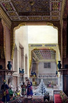 Interior View of the Summer Salon of a House in the Quartier-Hauch Kadan, Cairo 1818 BY Pascal Xavier Coste (French, 1787-1879).