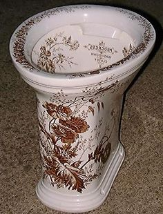 An original, highly decorated transfer print Victorian toilet. Victorian Toilet, Victorian Life, Victorian Bathroom, Victorian Decor, Victorian Homes, Victorian Fashion, Vintage Bathrooms, Victorian Furniture, Antique Furniture