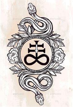 Snake with Satanic Cross Illustration by itskatjas Hand-drawn vintage tattoo art. Vintage symbol, highly detailed hand drawn snakes with Satanic cross, symbol of Satan in linear sty Satanic Cross, Satanic Art, Occult Symbols, Occult Art, Spiritual Symbols, Vintage Tattoo Art, Tattoo Snake, Satanic Tattoos, Occult Tattoo