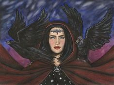 The Morrigan is a mysterious divine figure in Celtic mythology. She is considered the goddess of battle and sovereignty. She commonly takes the form of a crow but also appears as other animals in the Mythic and Ulster cycles. In addition, the Morrigan is known to appear in the form of three sisters. #celtic #mythology