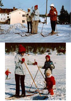 kaukosen koululla 1971.jpg Yläkuvassa Salme lähdössä hiihtolenkille Kaukosen koululta kevättalvella 1971. Vasemmalla puolella terveydenhoitaja Ritva Vainio ja oikella opettaja Maire Huilaja. Alakuvassa on mukana Satu liukurinsa kanssa.