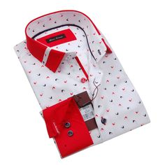 5b6b4220db0 Giannia Lorenzo Mens White Printed Shirt with Red Collar and Cuff at Amazon  Men s Clothing store