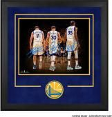"Stephen Curry, Klay Thompson, Kevin Durant Golden State Warriors Deluxe Framed Autographed 16"" x 20"" 2017 NBA Finals Champions Walking Away Photograph"