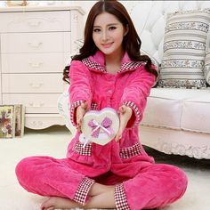 Find More Pajama Sets Information about Autumn and winter thickening coral  fleece sleepwear women s long sleeve ef6c3bb2d