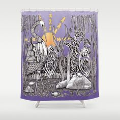 Zentangle Daylight in the Swamp Shower Curtain by Vermont Inklings Cool Doodles, Doodle Designs, Zentangle Patterns, Outer Space, 2 Colours, Vermont, Tangled, Art Prints, Artwork