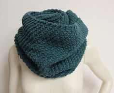 oversized teal hand knitted snood, chunky knit infinity scarf