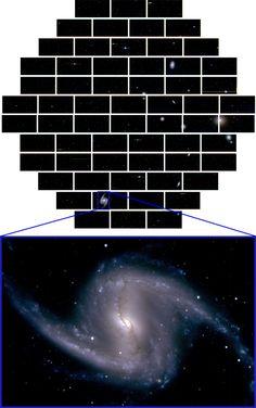 Ein erstes Bild der DECam vom Fornax-Galaxienhaufen in rund 60 Millionen Lichtjahren Entfernung (oben). Der Ausschnitt mit der Balkenspiralgalaxie NGC 1365 zeigt die enorme Auflösung des neuen Instruments.  http://www.pro-physik.de/details/news/2653701/Dunkle_Energie_ist_zu_99996_Prozent_echt.html