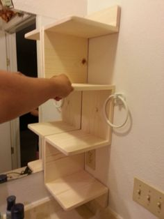 Step Guide to Building Your Own DIY Corner Shelving Easy 5 Step DIY Guide: Corner Shelving Unit. Great for a weekend project! Great for a weekend project! Diy Corner Shelving, Wall Shelves, Build Shelves, Wood Shelf, Storage Shelves, Bathroom Corner Shelf, Small Bathroom, Bathroom Ideas, Ikea Bathroom