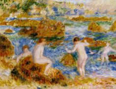 Nude Boys On The Rocks At Guernsey by Renoir.