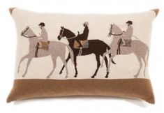 These are the Jockey Cashmere pillows made of knitted cashmere and wool with suede corners and measuring 16″ x 24″. The details on these pillows are beyond beautiful!