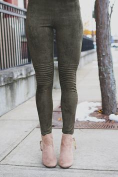 Olive Faux Suede Moto Leggings – UOIOnline.com: Women's Clothing Boutique