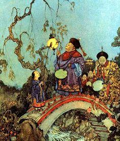 Le Rossignol et l'Empereur de Chine ,de Hans Christian Andersen    Illustration d'Edmond Dulac