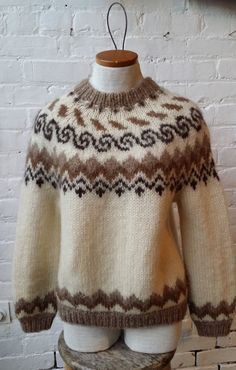 VTG Icewool Fair Isle Icelandic Knit Wool Sweater by UrbanXchange, $28.00