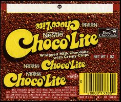 Was my favorite candy bar when I was little ---> Nestle - Choco'Lite candy bar wrapper - late 1970's by JasonLiebig, via Flickr