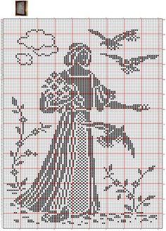 This Pin was discovered by Тат Cross Stitch Bird, Cross Stitch Borders, Cross Stitch Designs, Cross Stitching, Cross Stitch Embroidery, Cross Stitch Patterns, Filet Crochet Charts, Crochet Motifs, Crochet Doilies