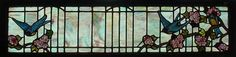 Antique American Floral Stained Glass Transom with Birds
