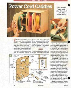 da Shopnotes issue 54 by echkbet - power cord caddies - Garage organization. Workshop Storage, Workshop Organization, Garage Workshop, Garage Organization, Workshop Ideas, Wood Workshop, Organized Garage, Woodworking Organization, Organizing Life