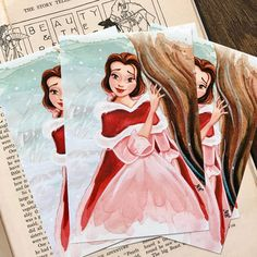 """I finally photographed these Christmas Belle 4x6"""" Prints. They fit in standard 4x6 inch frames. Click link in bio to purchase (Etsy.com/shop/18thCenturyShop). 🌹❤️"""