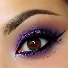 Bright purple metallic eye #vibrant #smokey #bold #eye #makeup #eyes #eyeshadow…