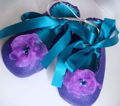 Purple and Turquoise Felt and Organza Flower by CreamBunBakery, $16.50  FOR Alivia  @Nicky Taylor