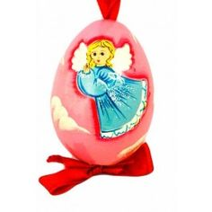 Angel Egg (red background), $12.00. Catalog of St Elisabeth Convent. #CatalogofgoodDeed #angel #egg #red #easter #wood #handpainted #