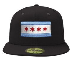 3d0f587e529 Amazon.com   City of Chicago Black 59Fifty Flag Hat by New Era   Sports Fan  Baseball Caps   Sports   Outdoors Size 7 1 8