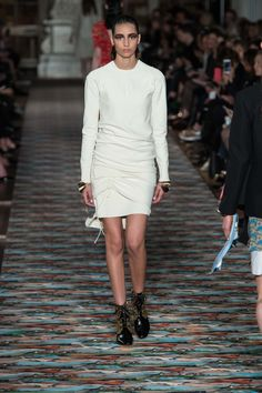 Christian Dior | Resort 2017 | 11 White long sleeve sweater and ruched mini skirt
