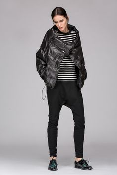 Down padded jacket with large collar - FrontRowShop