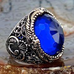 925 Sterling Silver Mens Ring with Sapphire Blue Zirconia Unique KaraJewels #KaraJewels #Turkish
