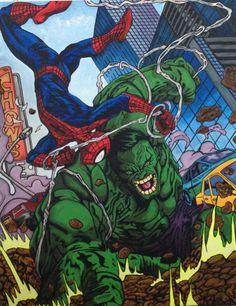 #Hulk #Fan #Art. (Hulk vs Spiderman) By: K. Kiely. (THE * 3 * STÅR * ÅWARD OF: AW YEAH, IT'S MAJOR ÅWESOMENESS!!!™)[THANK Ü 4 PINNING<·><]<©>ÅÅÅ+(OB4E)     https://s-media-cache-ak0.pinimg.com/474x/44/e0/dc/44e0dc4eb4d0286e67e97b59255324f8.jpg