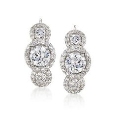 6.80 ct. t.w. CZ Trio Earrings in Sterling Silver