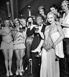 "Bottoms up! Bandleader Ted Lewis celebrates the repeal of Prohibition at the Hollywood Club with his ""Broadway Beauties. Prohibition Party, Speakeasy Party, 1920s Party, 1920s Speakeasy, End Of Prohibition, 1920s Wedding, Party Wedding, Wedding Ideas, Roaring Twenties"
