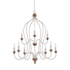 Feiss 9 Light Chalk Washed / Beachwood Chandelier