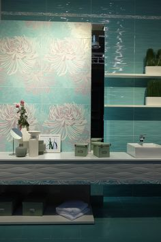 Calming, water-inspired #color from #Cersaie2013 #tile #bath by Azulejos Acor