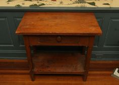 """19th C single drawer pine work stand with a lower shelf base. 32""""x17""""x28"""" tall."""