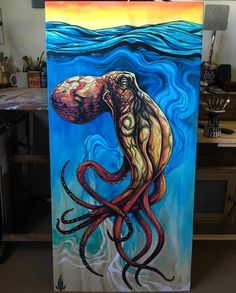 Octo-love Octopus Painting, Octopus Drawing, Octopus Art, Painting Inspiration, Art Inspo, Kraken Art, Jellyfish Art, Underwater Art, Nautical Art
