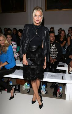Laura Whitmore Photos - Laura Whitmore attends the front row for Pinghe catwalk show at the Fashion Scout venue during London Fashion Week at Freemasons Hall on September 2013 in London, England. - LFW: Front Row at Pinghe Fashion Scout, Mark Wright, Laura Whitmore, Pretty People, Front Row, Style Icons, All Black, The Row, Catwalk