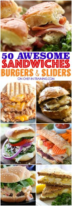 50 AWESOME Sandwiches, Burgers, and Sliders! 50 Awesome Sandwiches, Burgers and Sliders. this list is the perfect GO TO for spring and summer! So many yummy unique and delicious options to choose from! Soup And Sandwich, Sandwich Recipes, Sandwich Ideas, Slider Sandwiches, Meatball Sandwiches, Sliders Burger, Steak Sandwiches, Gourmet Sandwiches, Sandwiches For Lunch