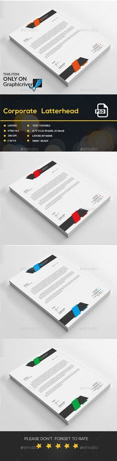 #Corporate #Letterhead - Stationery Print Templates Download here: https://graphicriver.net/item/corporate-letterhead/15130010?ref=alena994