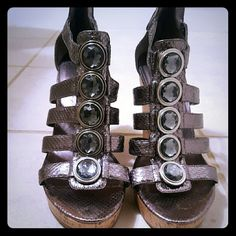 Enzo Studded Wedges Lightly used and very comfortable.  No damages Enzo Angiolini Shoes Wedges