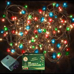 Χριστουγεννιάτικα Λαμπάκια Πολύχρωμα με Πρόγραμμα 100τεμ  100 λαμπάκια πολύχρωμα Πράσινο καλώδιο Μήκος καλωδίου με το φις: 4.7m Μήκος καλωδίου με τα λαμπάκια: 3m Christmas Bulbs, Holiday Decor, Christmas Light Bulbs