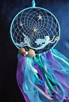 Mermaid baby shower gift, Nautical beach bedroom decor, Ocean dreamcatcher Mermaid dream catcher by HandmadeByNeliShop on Etsy Diy And Crafts, Craft Projects, Crafts For Kids, Arts And Crafts, Kids Diy, Mermaid Diy, Baby Mermaid, Little Mermaid Room, Little Mermaid Crafts