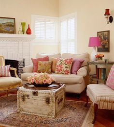 Love this look for the family room! The pops of color make it so inviting!