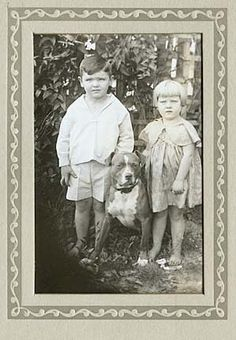 """""""A Pit Bull and two small children. To me it is amazing that the dog once most trusted with children, a dog once commonly referred to as 'the nanny dog' is so vilified now. Dog Photos, Dog Pictures, Animal Pictures, Nanny Dog, Vintage Dog, Vintage Children, Vintage Stuff, Vintage Paper, American Pitbull"""