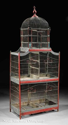 French Painted Wood and Wirework Birdcage c. 1900 ♀️♀️Antique bird cage♀️♀️More Pins Like This At FOSTERGINGER @ Pinterest♀️