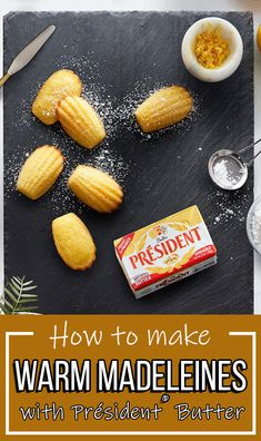 Step-by-step instruction to make Président® Butter Warm Madeleines! Treat Yourself, Step By Step Instructions, Cantaloupe, Butter, Treats, Warm, Dinner, Fruit, Desserts