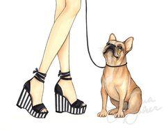 Pierre the French Bulldog Art Print / Fawn Frenchie Dog Fashion Illustration by Joanna Baker French Bulldog Facts, French Bulldog Blue, French Bulldogs, Fashion Images, Fashion Art, Ballerina Art, Shoe Art, Art Shoes, Fashion Sketches