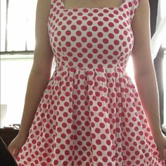 Vintage Hot Pink Polka Dot Dress Add this Vintage dress number to your closet for summer! Light and comfortable, it'll be great for summer parties. I took out the tag from the dress because it kept showing. 🍃 Dehlia's Dresses Mini