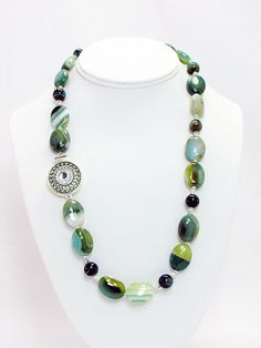 Green Line Agate & Crystal Necklace AG1 by daksdesigns on Etsy